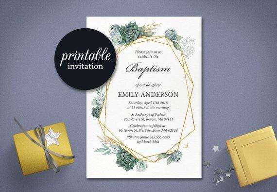 green baptism invitation printable christening invitation etsy