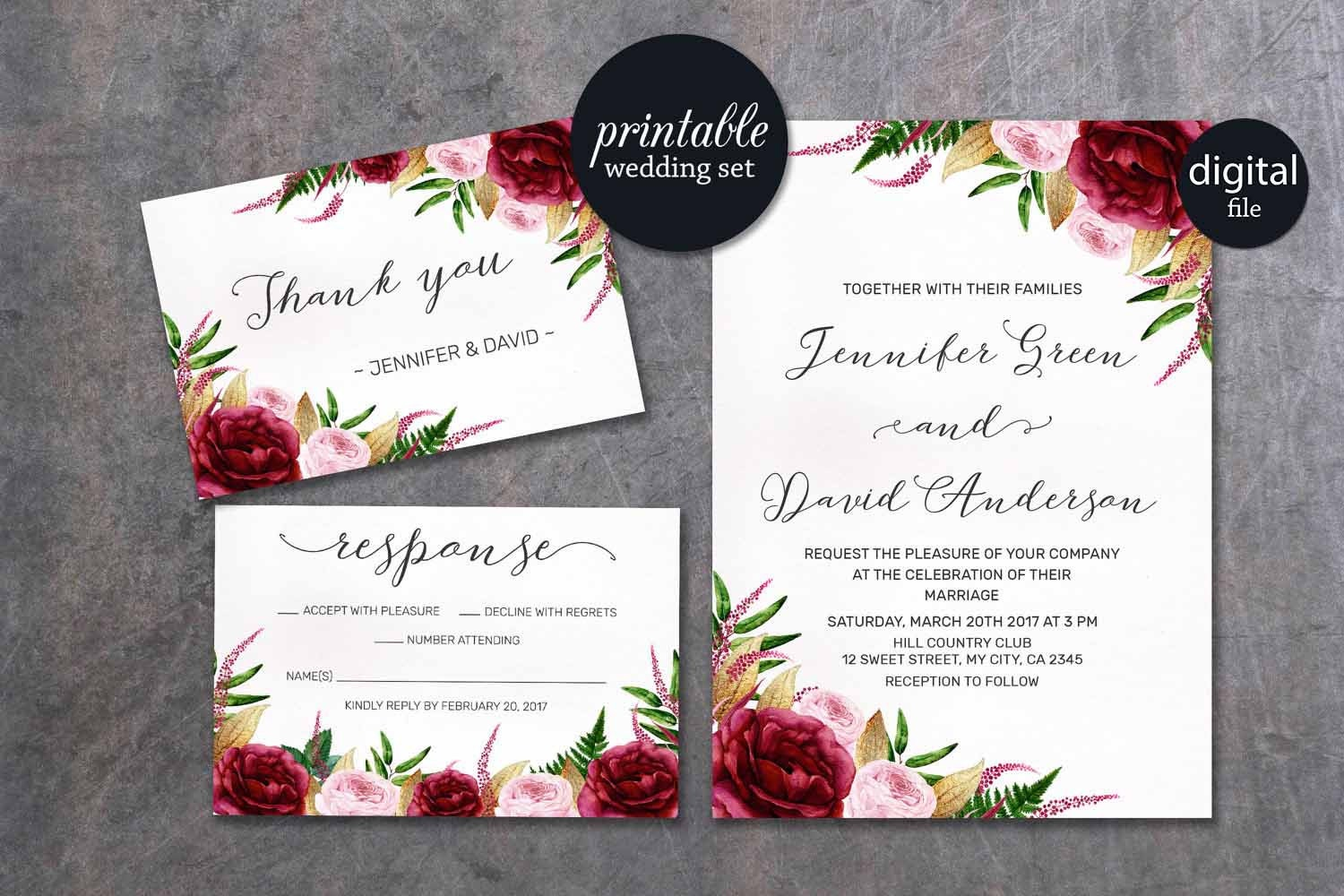 Burgundy Wedding Invitation Floral Wedding Invitation Pink