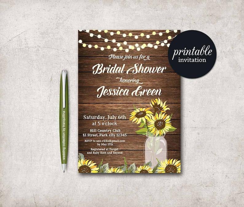 9cd3663a011 Rustic Bridal Shower Invitation Printable Sunflower Bridal
