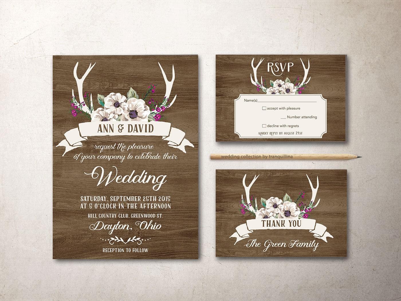Rustikale Hochzeit Einladung Winter Hochzeitseinladung Floral   Etsy