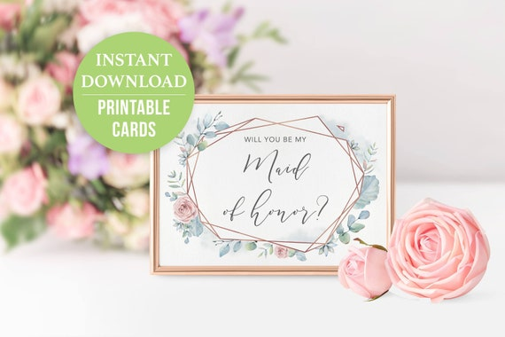 pink dusty blue matron of honor card printable Will you be my Matron of honor Card Matron of honor proposal card Geometric Floral