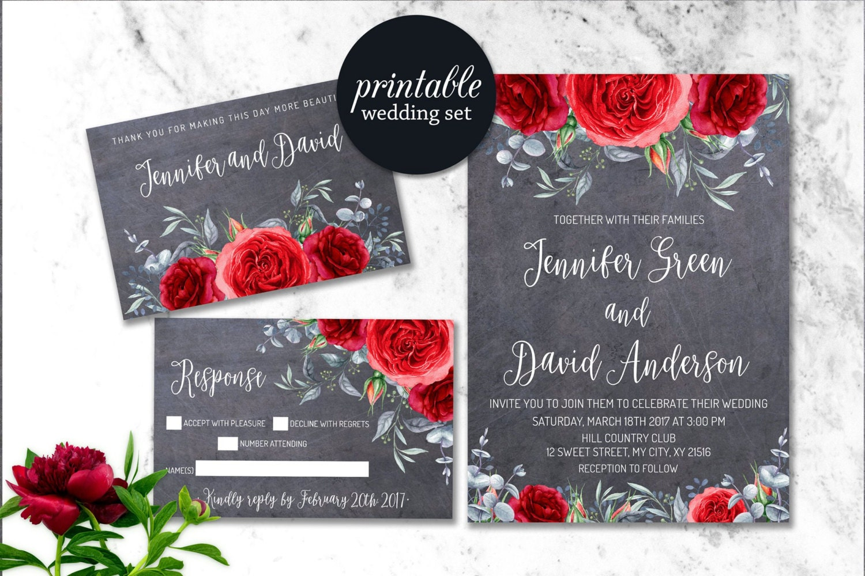 Winter Wedding Invitation Floral Wedding Invite Printable | Etsy