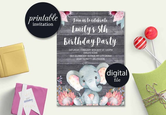 elephant birthday invitation printable girl birthday etsy