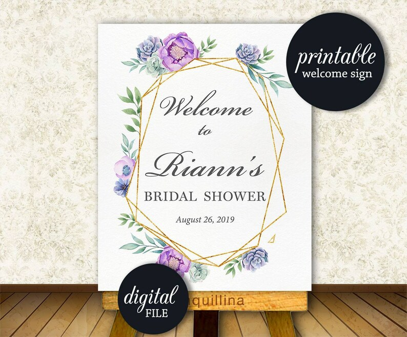fc55f65761f3 Succulent Bridal shower welcome sign Printable Bridal shower