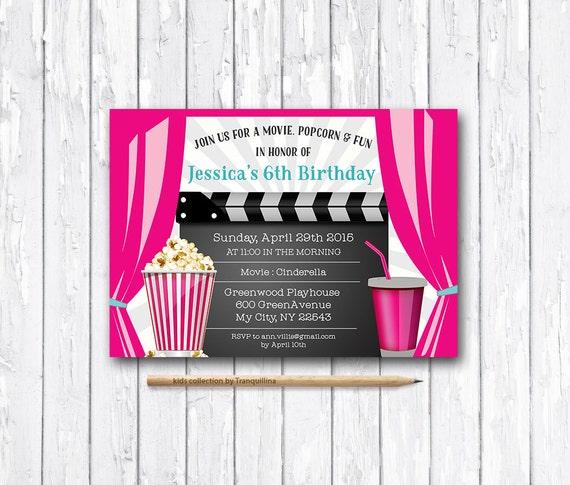Movie Party Invitation Printable Movie Birthday Invite Etsy