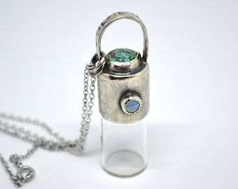 Sterling silver keepsake rollerball glass bottle vial for Essential Oils, Parfumes, lipgloss with Turquoise and Ethiopian Opal 2ml Mandala