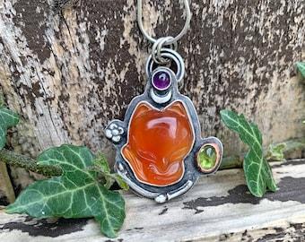silver pendant hippie style green heart Sterling silver Chrysoprase love heart statement pendant boho pendant