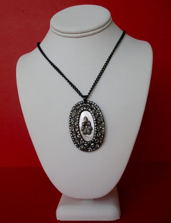 Antique Marcasite & Mother-of-Pearl Pendant Neckla