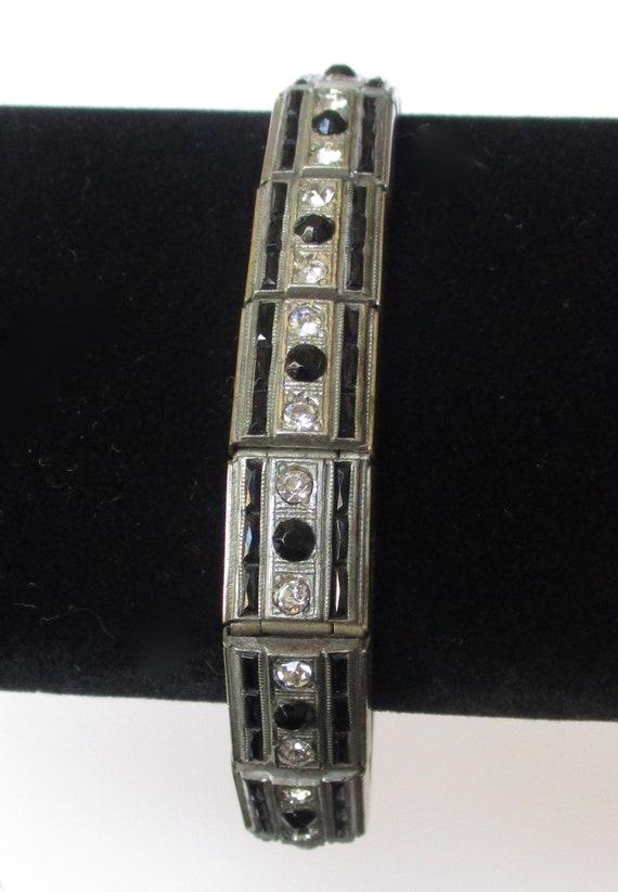 Antique Art Deco Rhodium-Plated & Paste Bracelet
