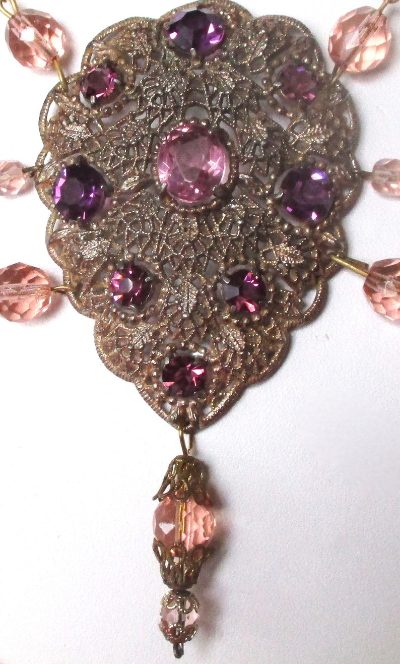 Vintage Pink /& Amethyst Crystal Swag Necklace from the 1930/'s