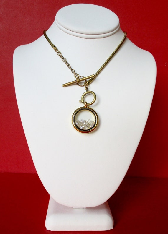 Vintage Brass Snake Watch Chain Choker With Shaker