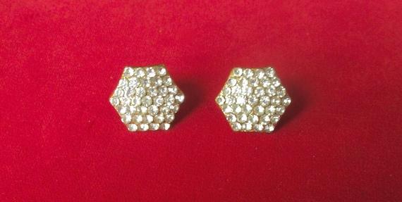 Pair of Vintage Deco Hexagon Screw-Back Earrings W