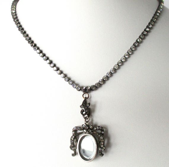 Victorian Silver & Paste Necklace With Matching Lo