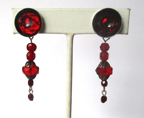 Pair of Vintage Deco Red Crystal &  Sterling Silve