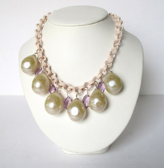 Vintage Celluloid & Glass Summer Necklace