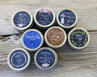 Set of 25- Wedding Candle Favor 2oz Tins with Custom Label  Wedding Favor Candle Personalized Wedding Favor Cottage Chic Swirl over 100 sold