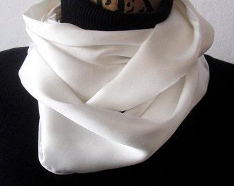 "Tuxedo Scarf - White Silk Aviator Scarf - Formal Scarf - Narrow Silk Scarf - White Scarf - 10"" x 60"" - Le Beau Cou Scarves"