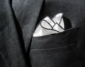 Silk Pocket Square with Black Edge  - Pocket Square -MADE TO ORDER - Mens Silk Handkerchief - White Silk Pocket Square - Pocket Hankerchief