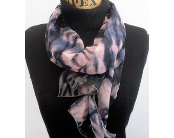 Skinny Scarf - Skinny Pink and Blue Scarf - Aviator Scarf - 100% Silk Chiffon - Romantic Abstract Butterfly Wing Print - Le Beau Cou Scarves