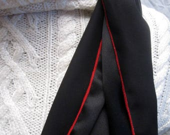 "Tuxedo Scarf - Black Silk Aviator Scarf with Red Edge - MADE TO ORDER - Formal Scarf - Narrow Silk Scarf - medium length- 10"" x 60"""