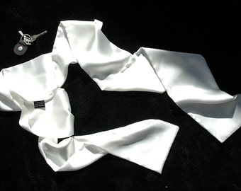 Pilot Scarf - White Aviator Scarf - MADE TO ORDER - White Silk Aviator Scarf - Double Layer Silk scarf -2PLY -medium -  Le Beau Cou Scarves