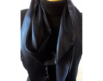 Navy Blue Aviator Scarf -100% Silk Charmeuse -MADE TO ORDER- Le Beau Cou Scarves