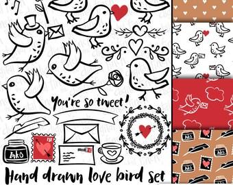 Snail Mail Love Birds Clip Art Images