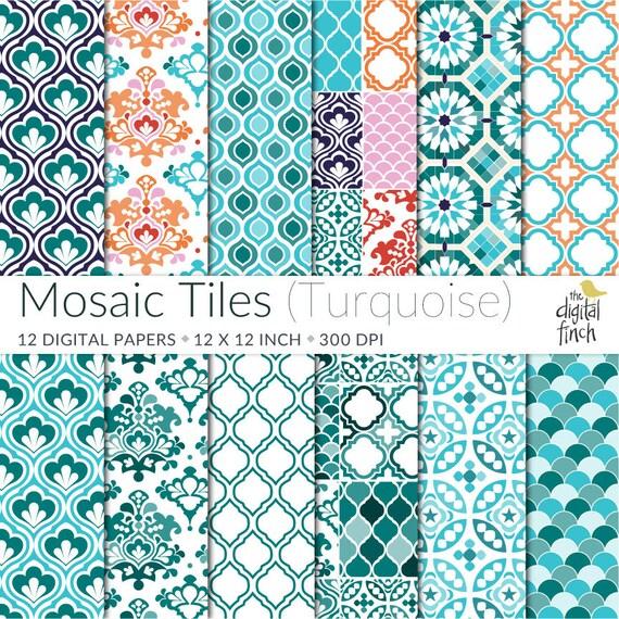 Onwijs Mozaïek tegel digitale Papers in het Turquoise Marokkaanse   Etsy XS-79