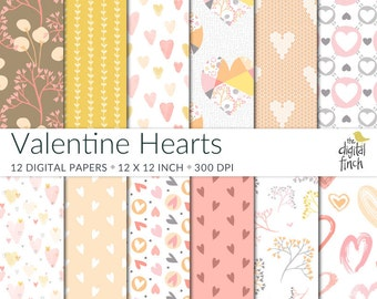 Valentine Hearts Digital Papers - scrapbooking paper - instant download - commercial use - royalty free
