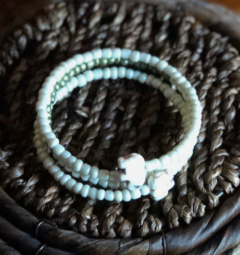 Elephant Wrap Bracelet Ivory Colored & Green Memory Wire image 0