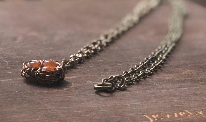 Bird Nest Pendant  Orange Glass Beads image 0