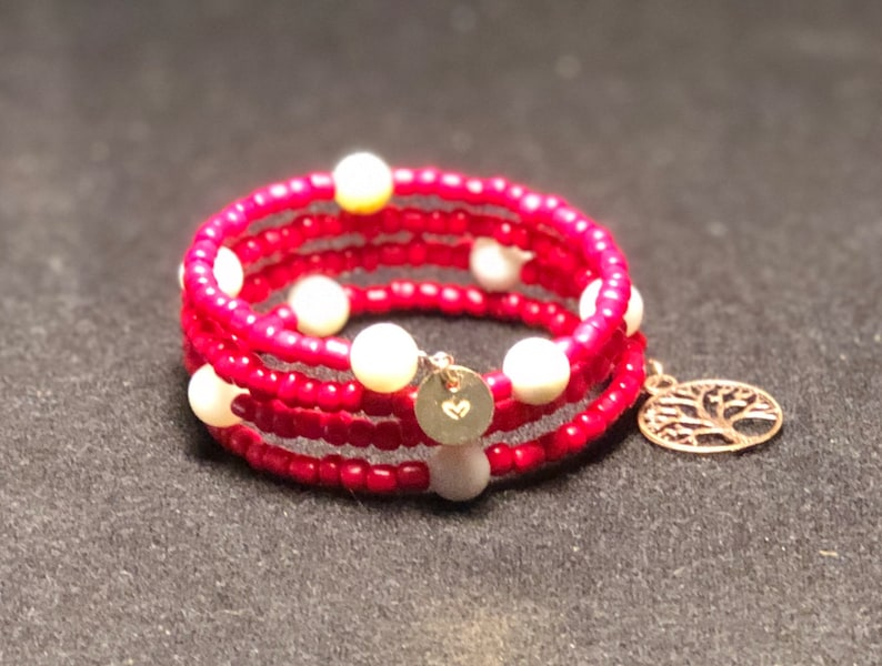 Red Beaded Wrap Bracelet image 0