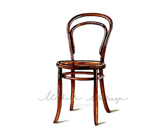 Thonet Bentwood Chair No.14 Illustration Art Print Home Decor 8x10