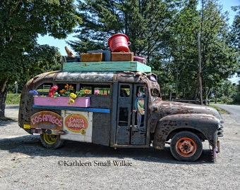 Cantina Bus,old vehicle,rusty old bus,summertime,decorated bus,antique vehicle,vehicle photography,Etsy finds,garage art,wall art,home decor