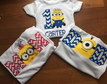 FAMILY Despicable Me Minion Personanlized Birthday Shirt