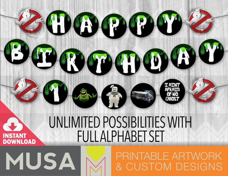 image relating to Ghostbusters Logo Printable known as Immediate Obtain / printable / Ghostbusters comprehensive alphabet occasion banner