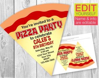 Pizza Party invitation / EDITABLE / PRINTABLE