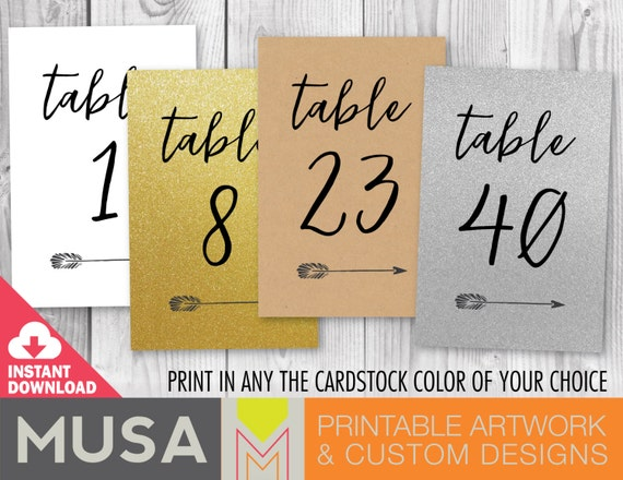 wedding table numbers with arrow accent size 4x6 and 5x7 included