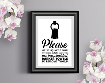 White Towels Printable Sign / INSTANT DOWNLOAD / Home, Airbnb, guest houses