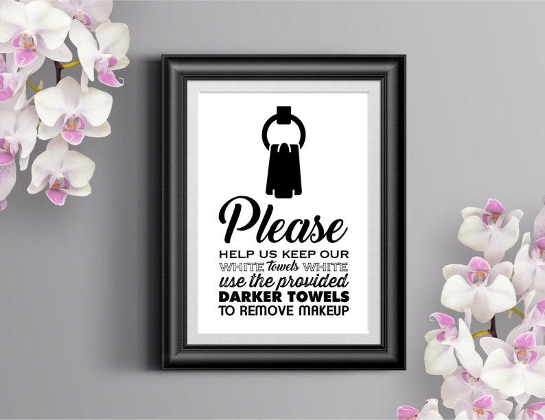 White Towels Printable Sign / INSTANT DOWNLOAD / Home Airbnb image 1