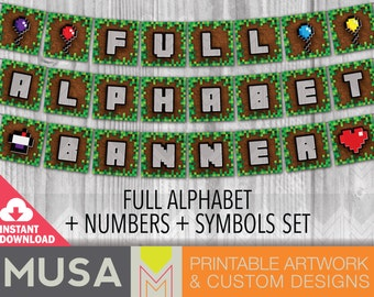 INSTANT DOWNLOAD / Pixelated Party Banner