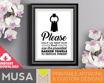 White Towels sign /sizes 4x6, 5x7 and 8x10 included / INSTANT DOWNLOAD / Great for guest houses