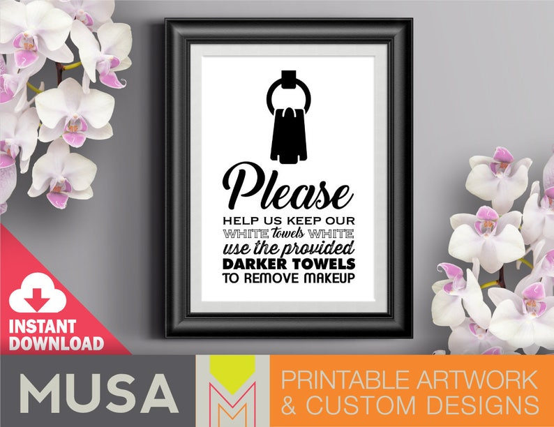 White Towels sign /sizes 4x6 5x7 and 8x10 included / INSTANT image 0