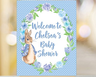 f487d42ef Welcome to baby shower sign, Printable Peter Rabbit Welcome sign, Baby  Shower decor, Peter Rabbit baby shower decor, Baby Shower Sign