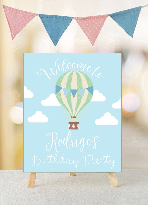 picture regarding Printable Welcome Sign titled Warm air balloon Birthday welcome signal, Printable welcome indication, Warm air balloon indication, Printable birthday indication, Prompt obtain, Get together decor