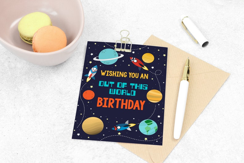 Space Happy Birthday Card Digital Download Outer Space | Etsy