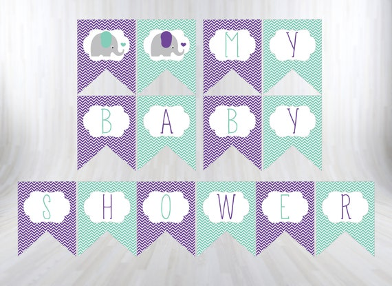 photo regarding Printable Baby Shower Decorations identify Elephant Little one Shower banner, Printable child shower Banner