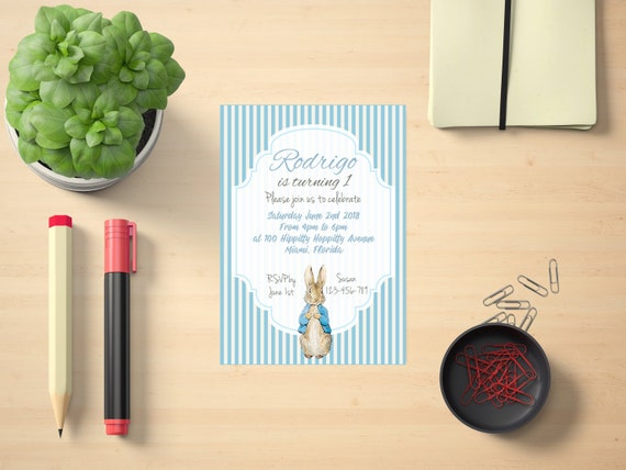 Peter Rabbit Invitation Printable Birthday Invite Customized