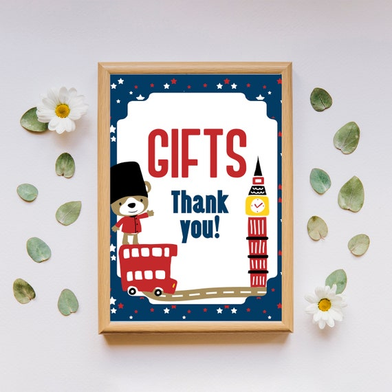 Gifts Sign Printable Table Decor Birthday Party Instant Download British London