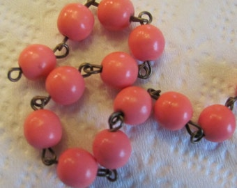 3 FEET - 8mm Rosary Chain - Coral / Melon - Antique Brass Wire Wrapped Chain